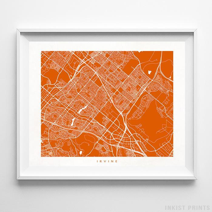 Irvine, California Street Map Print - Inkist Prints