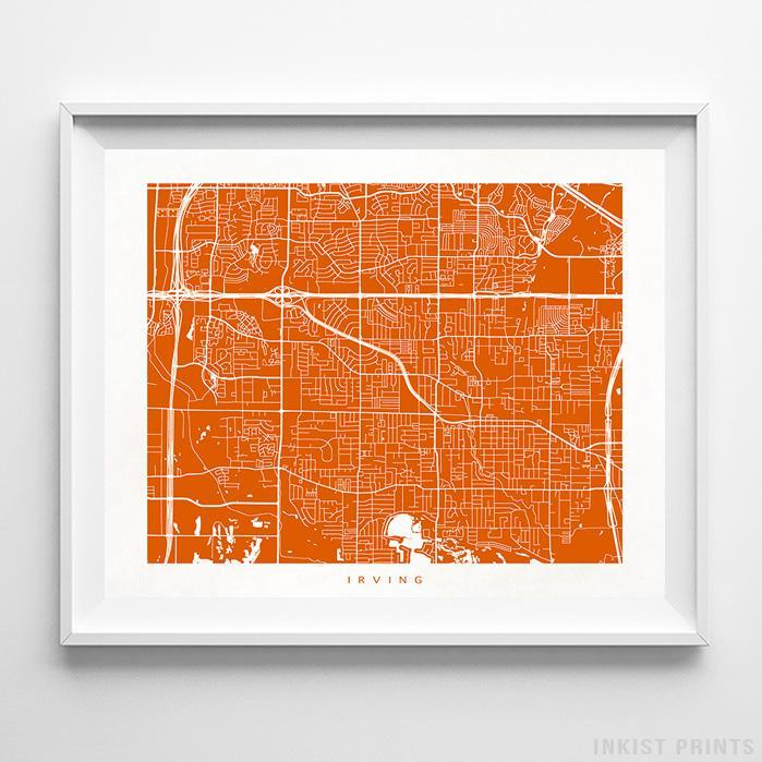 Irving, Texas Street Map Horizontal Print-Poster-Wall_Art-Home_Decor-Inkist_Prints