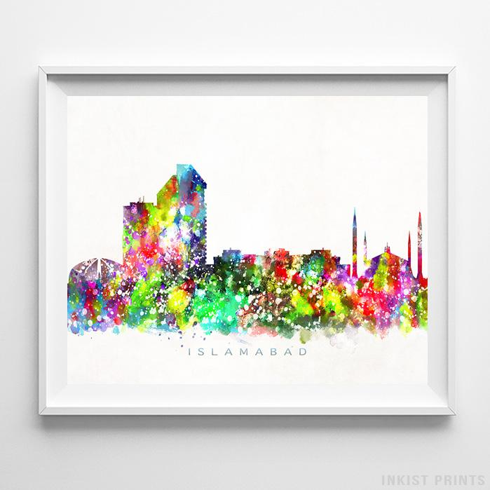 Islamabad, Pakistan Skyline Watercolor Print - Inkist Prints