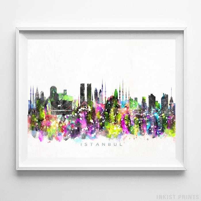 Istanbul, Turkey Skyline Watercolor Print Wall Art Poster by Inkist Prints