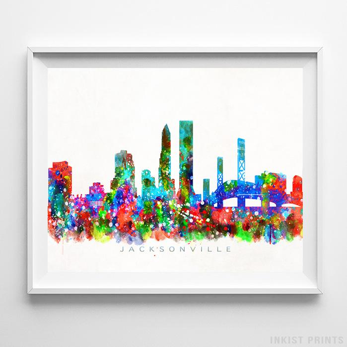 Jacksonville, Florida Skyline Watercolor Print - Inkist Prints