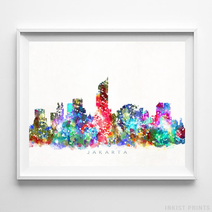 Jakarta, Indonesia Skyline Watercolor Print-Poster-Wall_Art-Home_Decor-Inkist_Prints