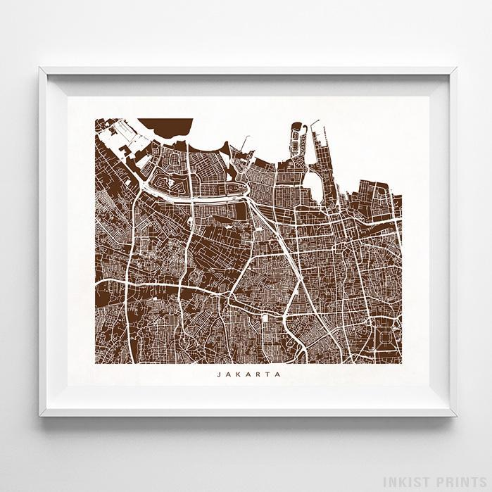 Jakarta, Indonesia Street Map Horizontal Print-Poster-Wall_Art-Home_Decor-Inkist_Prints