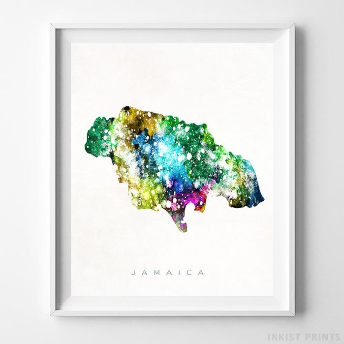 Jamaica Watercolor Map Print - Inkist Prints