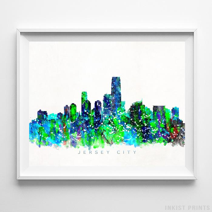 Jersey City, New Jersey Skyline Watercolor Print-Poster-Wall_Art-Home_Decor-Inkist_Prints