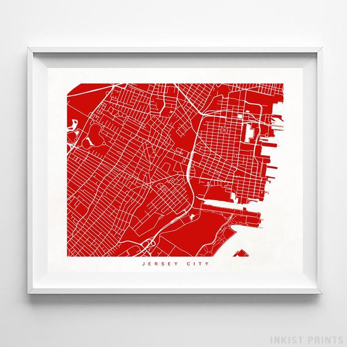 Jersey City, New Jersey Street Map Horizontal Print-Poster-Wall_Art-Home_Decor-Inkist_Prints