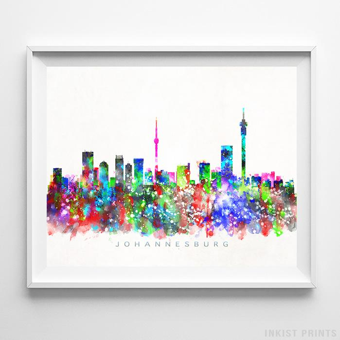 Johannesburg, South Africa Skyline Watercolor Print-Poster-Wall_Art-Home_Decor-Inkist_Prints