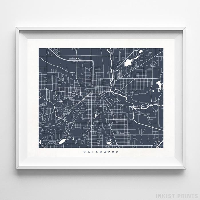 Kalamazoo, Michigan Street Map Horizontal Print-Poster-Wall_Art-Home_Decor-Inkist_Prints