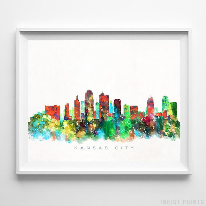 Kansas City, Missouri Skyline Watercolor Print - Inkist Prints