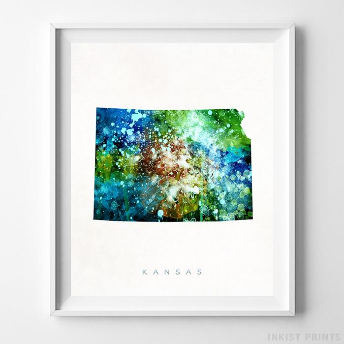 Kansas Watercolor Map Print-Poster-Wall_Art-Home_Decor-Inkist_Prints