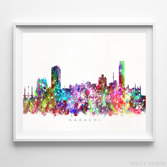Karachi, Pakistan Skyline Watercolor Print-Poster-Wall_Art-Home_Decor-Inkist_Prints