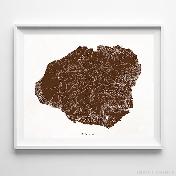 Kauai, Hawaii Street Map Print - Inkist Prints