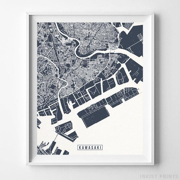 Kawasaki, Japan Street Map Vertical Print-Poster-Wall_Art-Home_Decor-Inkist_Prints