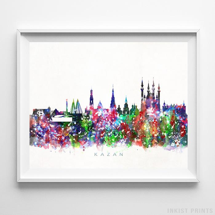 Kazan, Russia Skyline Watercolor Print-Poster-Wall_Art-Home_Decor-Inkist_Prints
