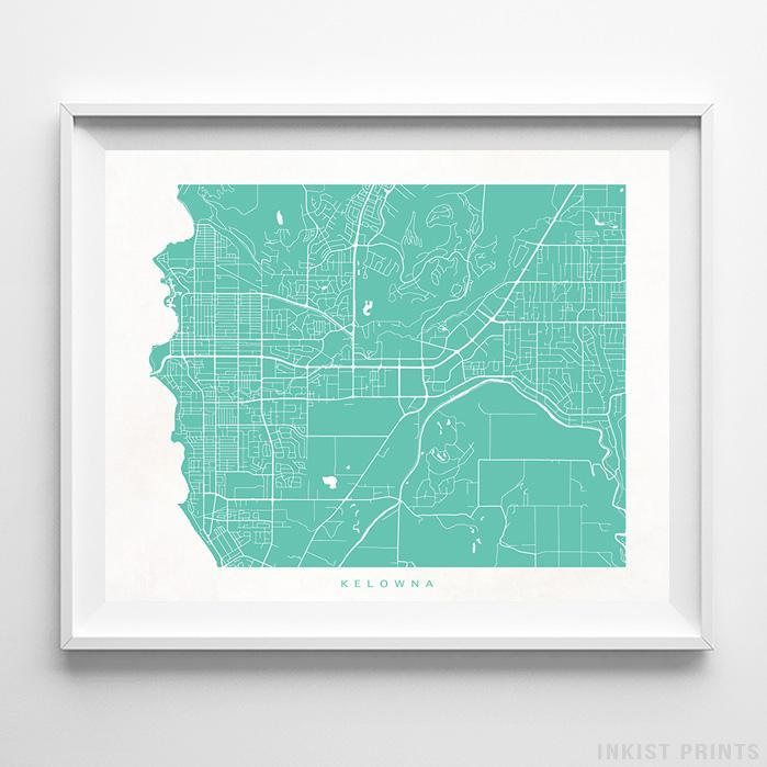 Kelowna, Canada Street Map Horizontal Print-Poster-Wall_Art-Home_Decor-Inkist_Prints