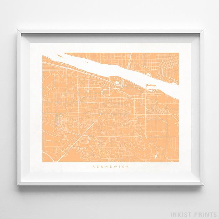 Kennewick, Washington Street Map Horizontal Print-Poster-Wall_Art-Home_Decor-Inkist_Prints