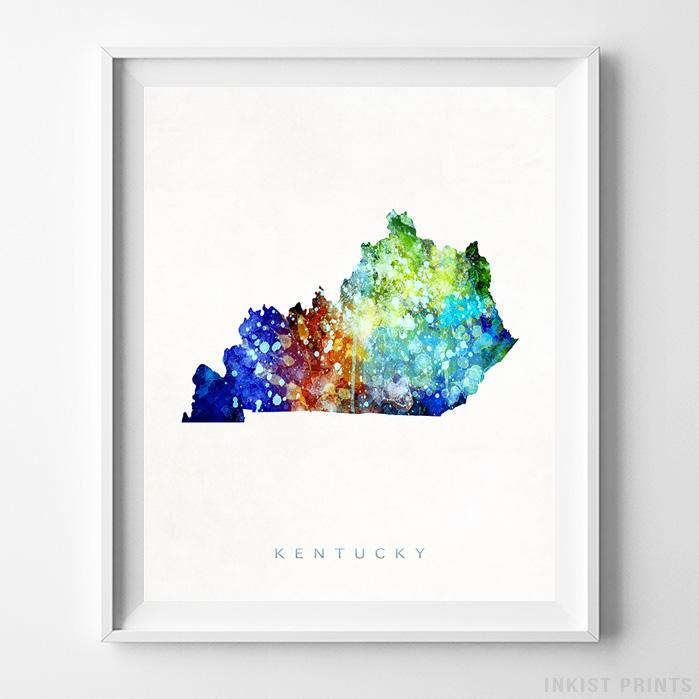 Kentucky Watercolor Map Print-Poster-Wall_Art-Home_Decor-Inkist_Prints