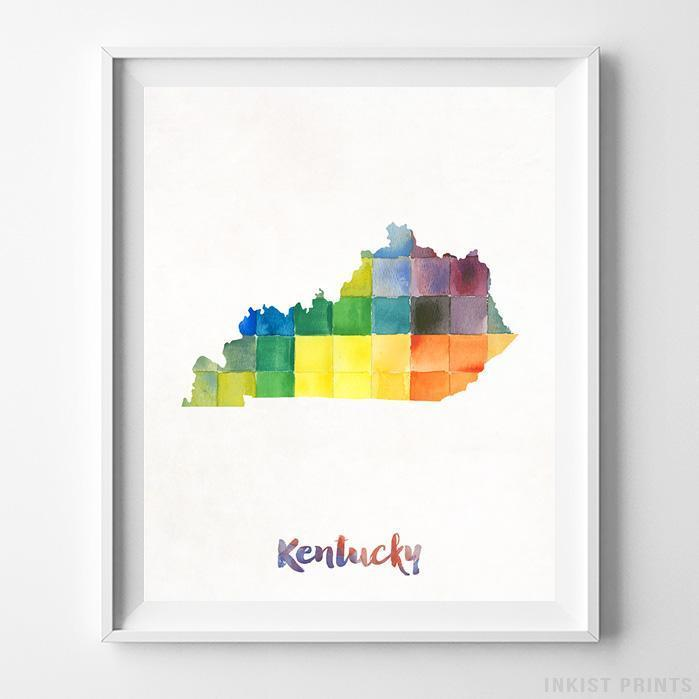 Kentucky Watercolor Map Print - Inkist Prints