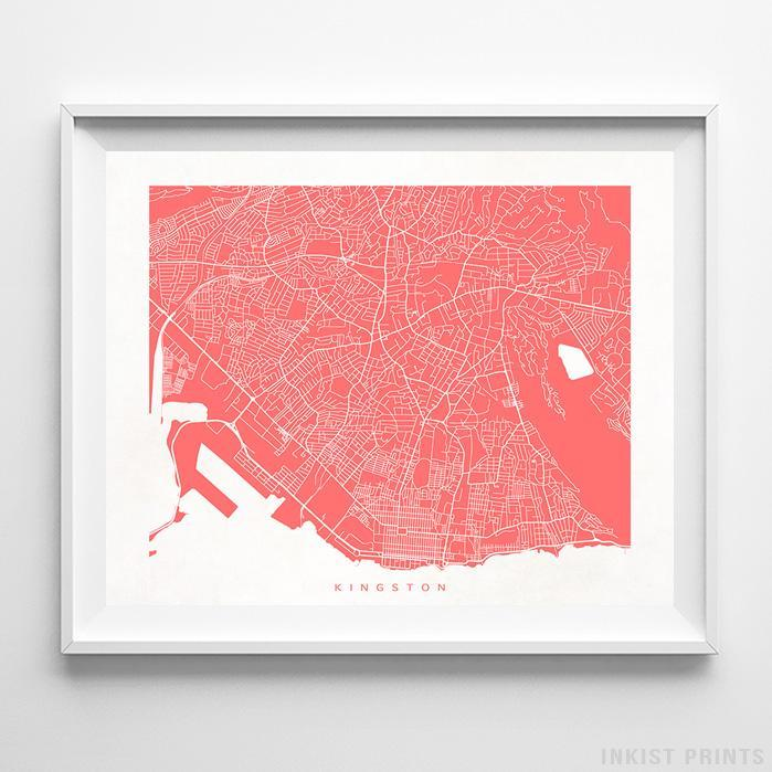 Kingston, Jamaica Street Map Horizontal Print-Poster-Wall_Art-Home_Decor-Inkist_Prints