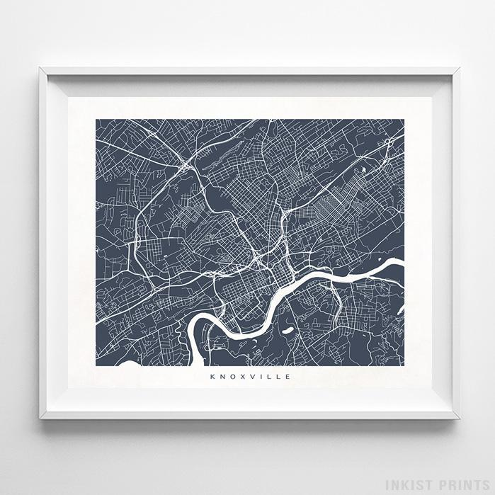 Knoxville, Tennessee Street Map Print - Inkist Prints