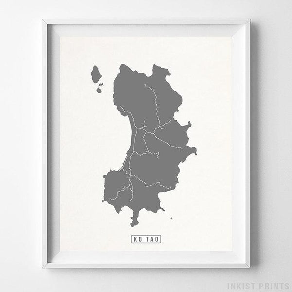 Ko Tao, Thailand Street Map Vertical Print-Poster-Wall_Art-Home_Decor-Inkist_Prints