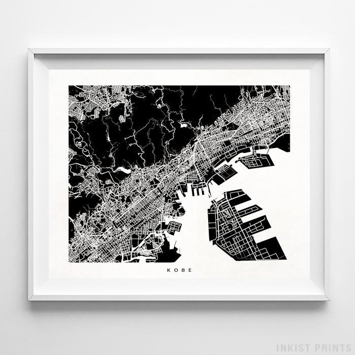Kobe, Japan Street Map Horizontal Print-Poster-Wall_Art-Home_Decor-Inkist_Prints