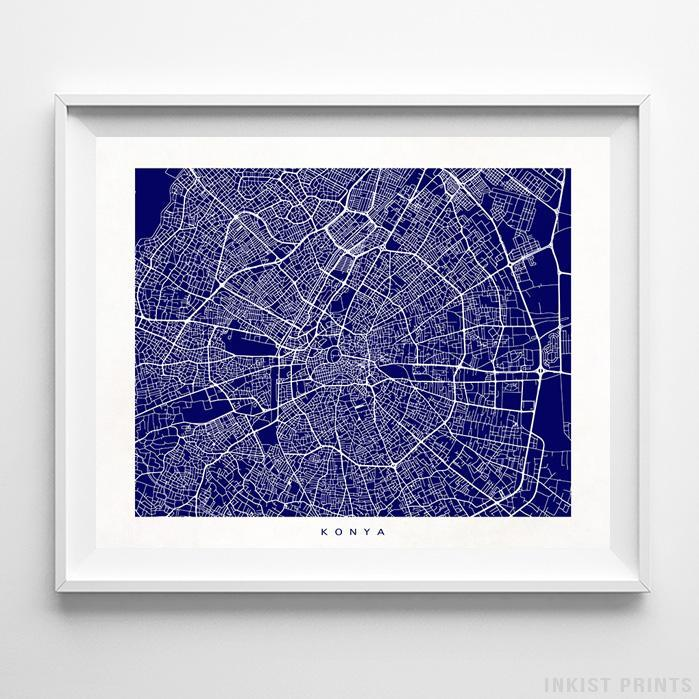 Konya, Turkey Street Map Horizontal Print-Poster-Wall_Art-Home_Decor-Inkist_Prints