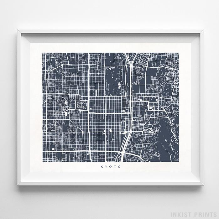 Kyoto, Japan Street Map Horizontal Print-Poster-Wall_Art-Home_Decor-Inkist_Prints