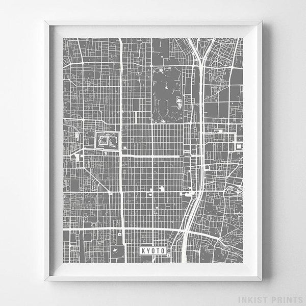 Kyoto, Japan Street Map Vertical Print-Poster-Wall_Art-Home_Decor-Inkist_Prints