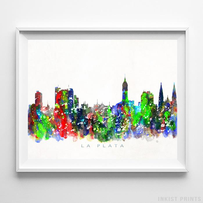 La Plata, Argentina Skyline Watercolor Print - Inkist Prints