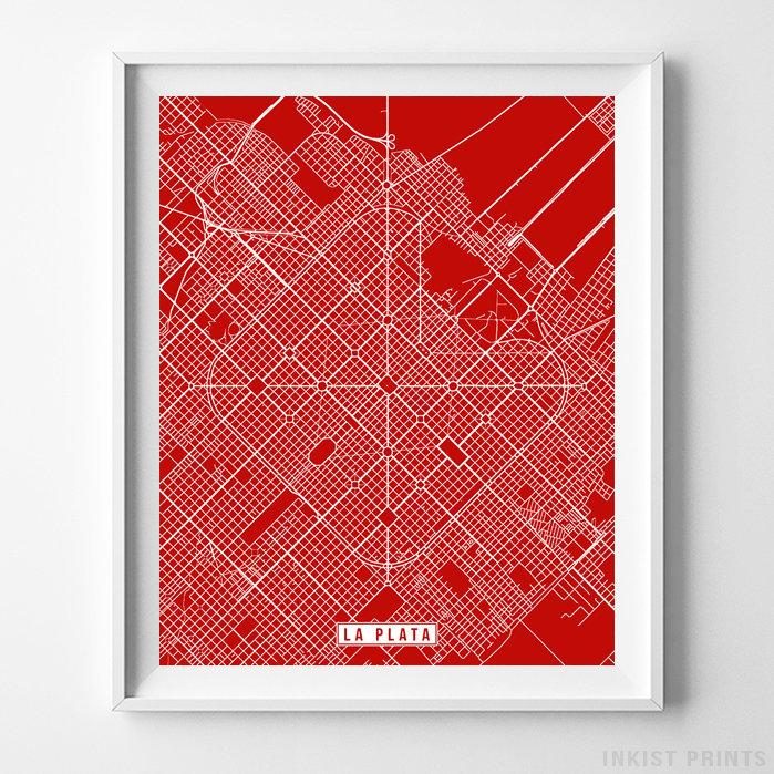 La Plata, Argentina Street Map Vertical Print-Poster-Wall_Art-Home_Decor-Inkist_Prints
