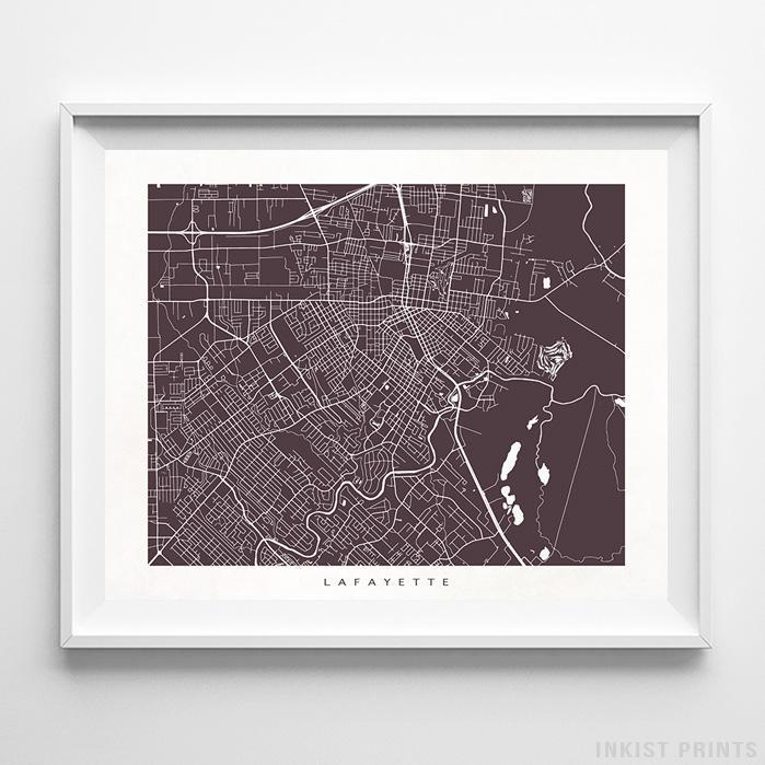 Lafayette, Louisiana Street Map Horizontal Print-Poster-Wall_Art-Home_Decor-Inkist_Prints