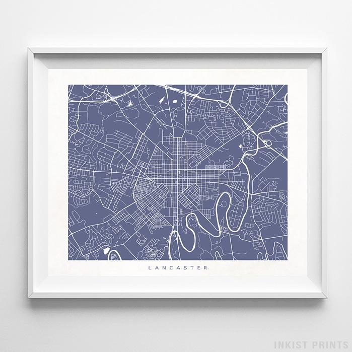 Lancaster, Pennsylvania Street Map Horizontal Print-Poster-Wall_Art-Home_Decor-Inkist_Prints