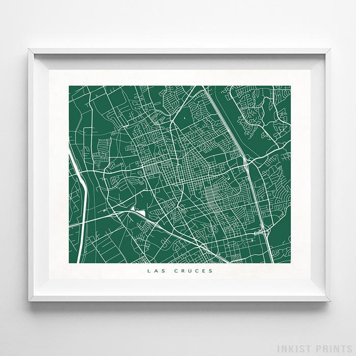 Las Cruces, New Mexico Street Map Horizontal Print-Poster-Wall_Art-Home_Decor-Inkist_Prints
