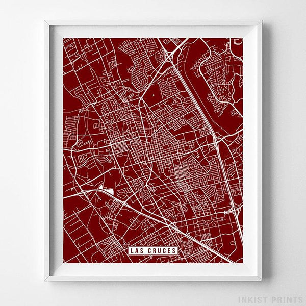 Las Cruces, New Mexico Street Map Vertical Print-Poster-Wall_Art-Home_Decor-Inkist_Prints