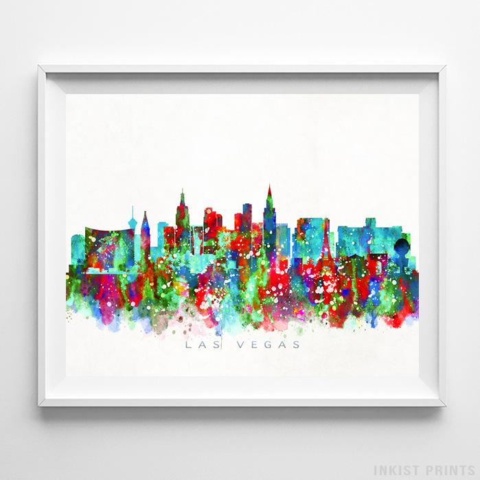 Las Vegas, Nevada Skyline Watercolor Print-Poster-Wall_Art-Home_Decor-Inkist_Prints