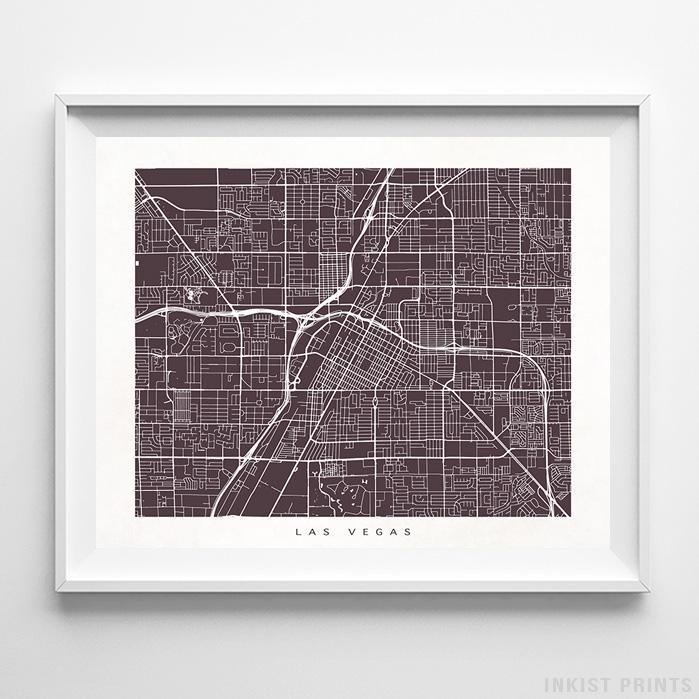 Las Vegas, Nevada Street Map Horizontal Print-Poster-Wall_Art-Home_Decor-Inkist_Prints