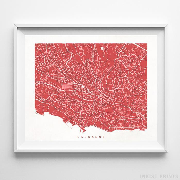 Lausanne, Switzerland Street Map Horizontal Print-Poster-Wall_Art-Home_Decor-Inkist_Prints