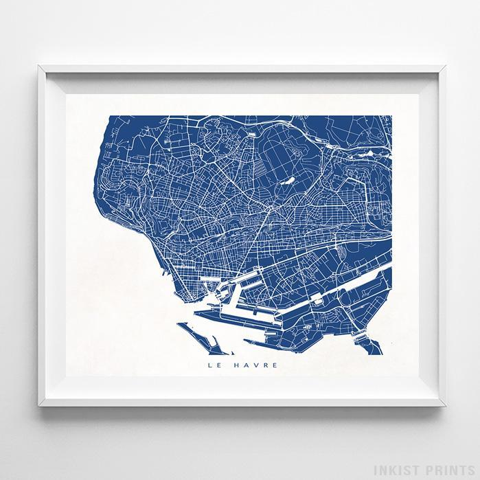 Le Havre, France Street Map Horizontal Print-Poster-Wall_Art-Home_Decor-Inkist_Prints