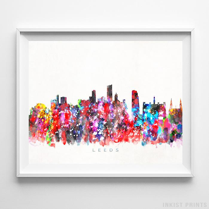 Leeds, England Skyline Watercolor Print - Inkist Prints
