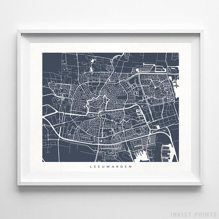 Leeuwarden, The Netherlands Street Map Horizontal Print-Poster-Wall_Art-Home_Decor-Inkist_Prints