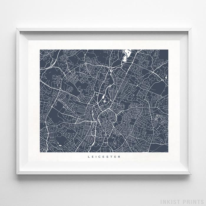 Leicester, England Street Map Horizontal Print-Poster-Wall_Art-Home_Decor-Inkist_Prints