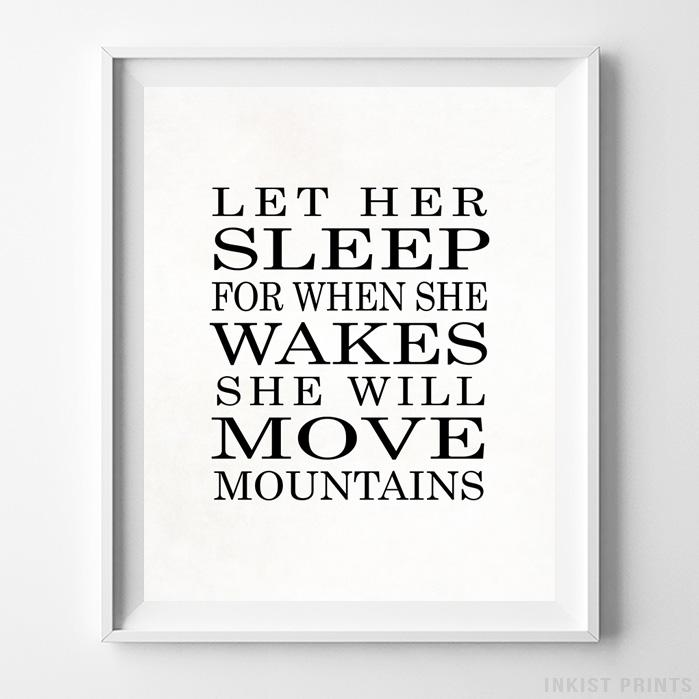 Let Her Sleep Typography Print - Inkist Prints