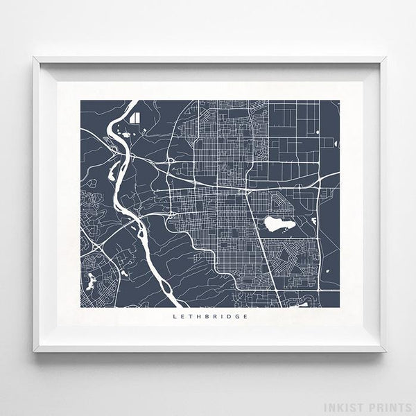 Lethbridge, Canada Street Map Print - Inkist Prints