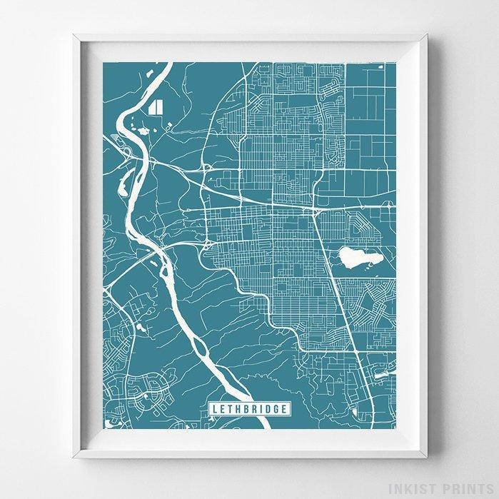Lethbridge, Canada Street Map Vertical Print-Poster-Wall_Art-Home_Decor-Inkist_Prints