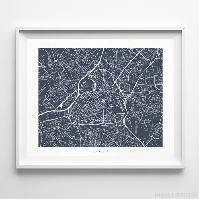 Lille, France Street Map Horizontal Print-Poster-Wall_Art-Home_Decor-Inkist_Prints