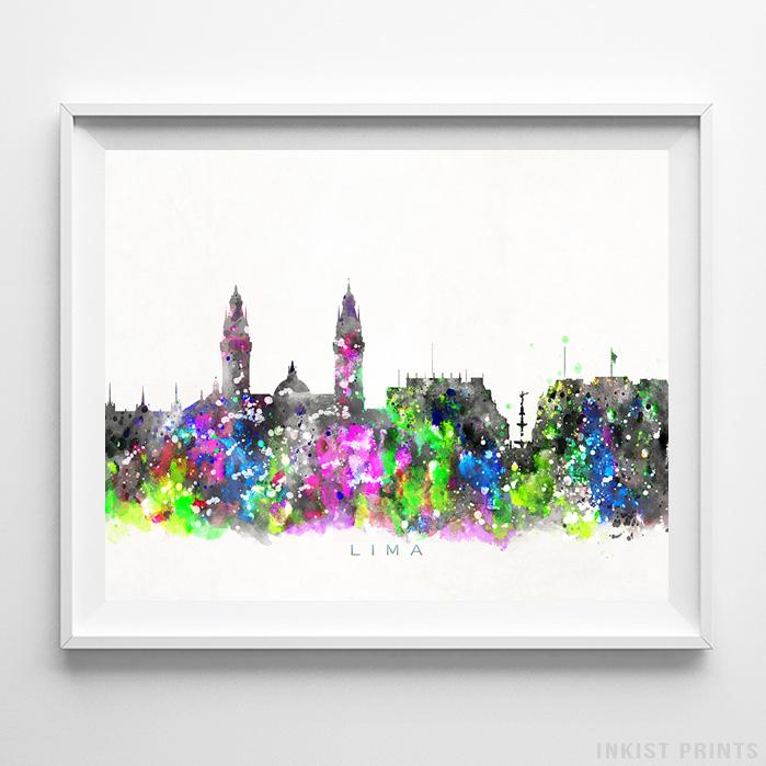 Lima, Peru Skyline Watercolor Print-Poster-Wall_Art-Home_Decor-Inkist_Prints