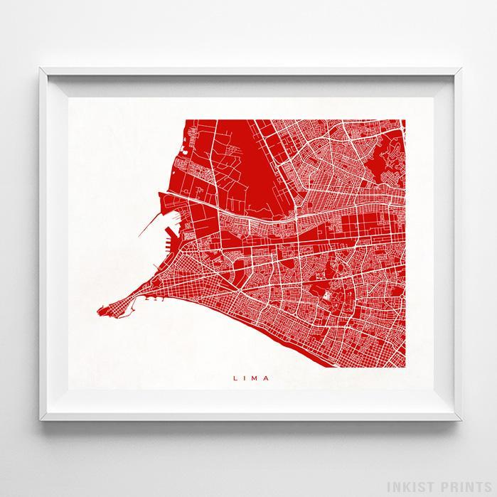 Lima, Peru Street Map Horizontal Print-Poster-Wall_Art-Home_Decor-Inkist_Prints