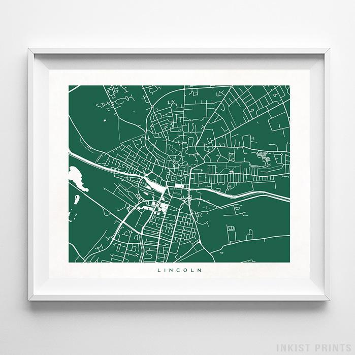 Lincoln, England Street Map Print - Inkist Prints