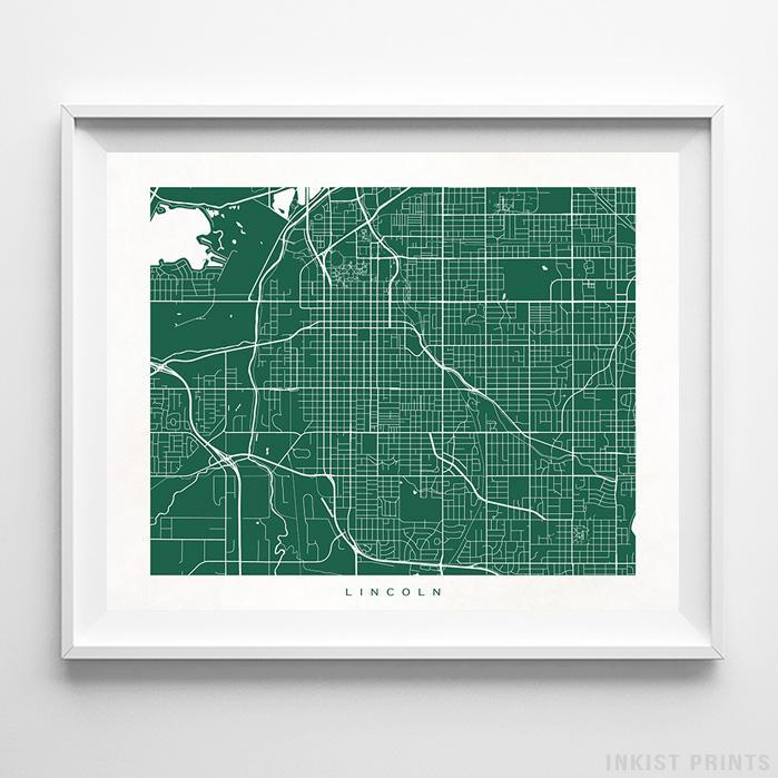 Lincoln, Nebraska Street Map Horizontal Print-Poster-Wall_Art-Home_Decor-Inkist_Prints